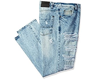 Southpole Men's Big and Tall Denim Pants Long Destructed Ripped and Repaired in Washed Colors Light Sand Blue 44