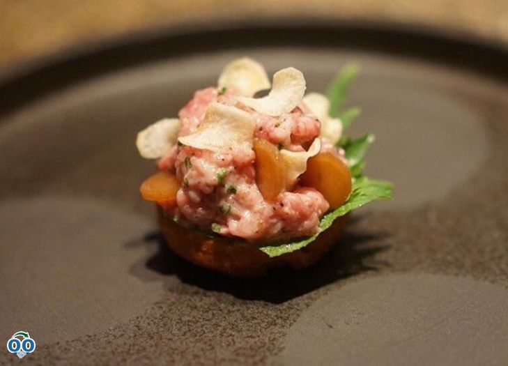 Our saikyo miso brioche with truffled wagyu tartar and salsify.