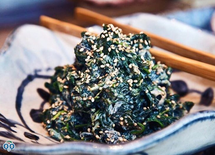 Our steamed spinach salad with creamy sesame and white goma