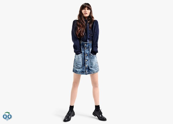 Made from slightly stiff denim to enhance the a-line cut, from G-Star Raw