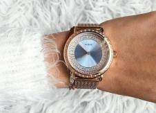 Blue and rose gold-tone mesh watch, from GUESS