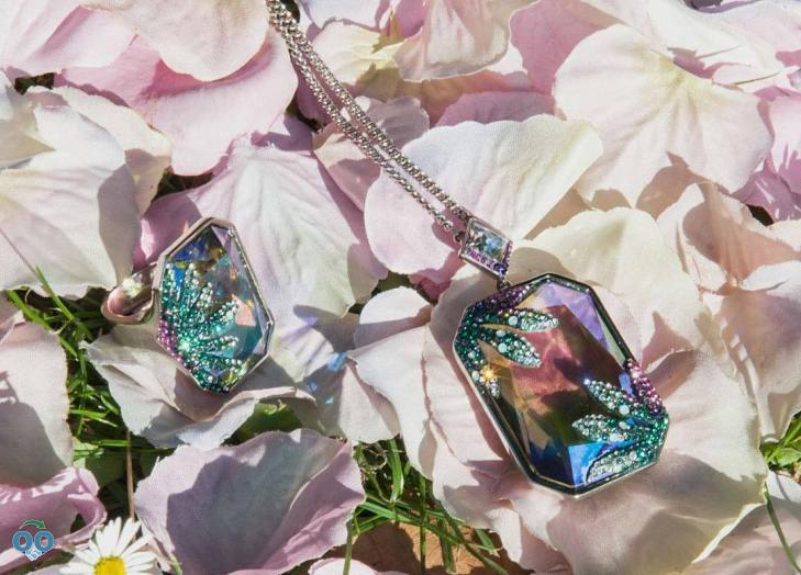 A striking color explosion combines with unmatched, from Swarovski