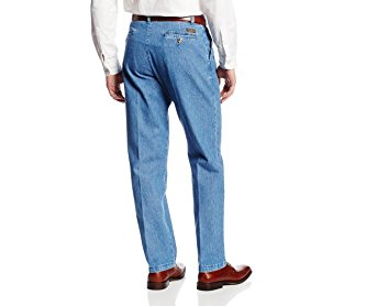 Lee Men's Stain Resistant Relaxed Fit Pleated Denim Pant Stonewash 40W x 30L